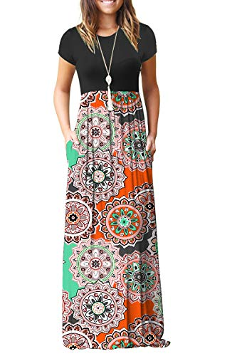 AUSELILY Women's Round Neck Short Sleeve Maxi Dresses Casual Long Dresses with Pockets(L,Round Floral Orange)