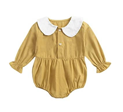 2d752d071 ACVIP Baby Girl's Trumpet Sleeves Peter Pan Collar Onesie Bodysuit  (Ginger,0-3M
