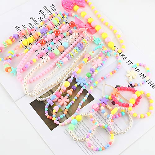 3 otters Children\'s Necklace, 8PCS Girl Necklace Bracelet Sets Little Girl Jewelry Princess Dress Accessories Acrylic Color Bead Jewelry