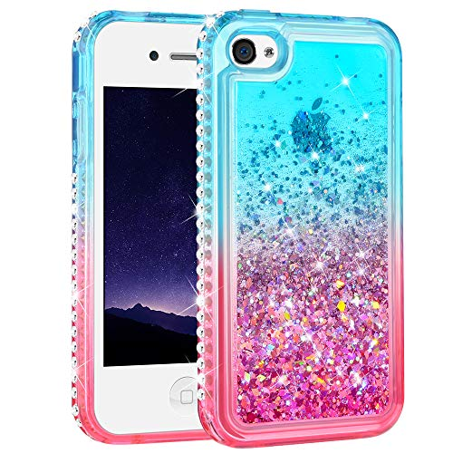 Ruky iPhone 4 Case, iPhone 4S Case, Gradient Quicksand Series Glitter Flowing Liquid Floating Bling Diamond Clear TPU Girls Case for iPhone 4 4S (Teal Pink) (Best Os For Iphone 4s)