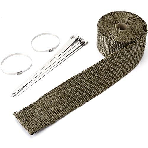 Titan Hitzeschutzband breit bis 1200°Hitzeschutz Heat Wrap Krümmer Hitzeschutzband Hitzeschutz Auspuffband 5mx50mm mit 10X Metallstreifen