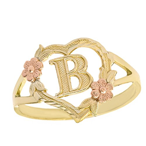 (CaliRoseJewelry 10k Two-Tone Initial Alphabet Heart Personalized Ring in Yellow and Rose Gold (Size 5.5) - Letter B )