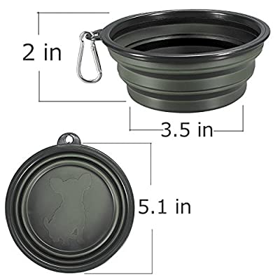 COMSUN Collapsible Dog Bowls, 2-Pack Foldable Expandable Cup Dish for Pet Cat Hiking Food Water Feeding Dog Travel Bowl by COMSUN