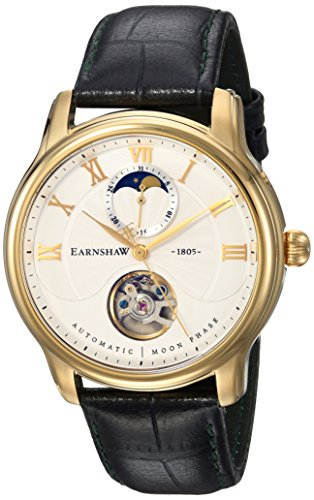 Thomas Earnshaw Men's 'LONGITUDE MOONPHASE' Mechanical Hand Wind Stainless Steel and Leather Dress Watch, Color:Black (Model: ES-8066-03)