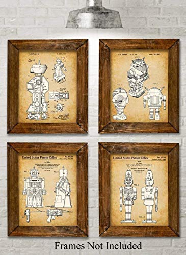 Original Toy Robots Patent Art Prints - Set of Four Photos (8x10) Unframed - Makes a Great Gift Under $20 for Sci-Fi Fans or Boy's Room Decor