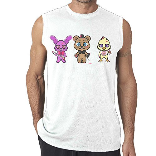 White Moisture Wicking Graphic Man's Five Nights At Freddy's Muscle -