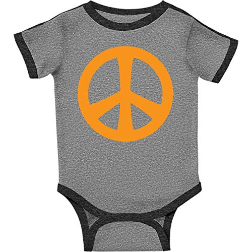 inktastic - Peace Sign Infant Creeper 24 Months Ringer Heather and Smoke 57d9