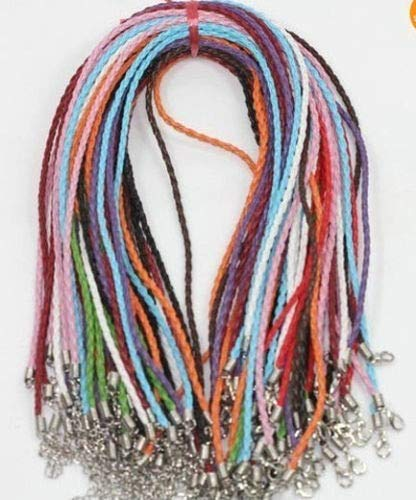 Laliva 20pcs Leather Braid Rope Hemp Cord Lobster Clasp Chain Necklace Bracelet DIY 18inch - (Color: Multi) -