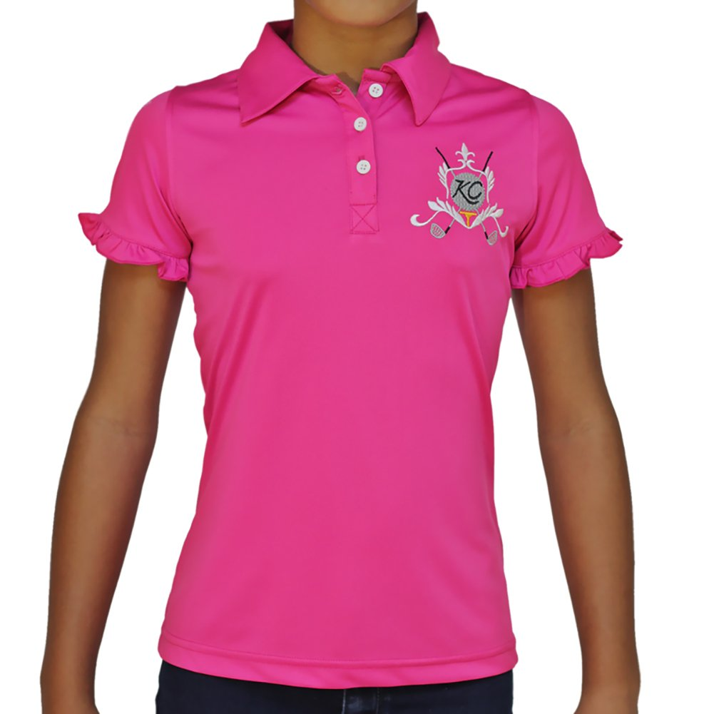 Kissi Couture Big Girls Golf Polo Shirt with Princess Of Golf Bling L Pink