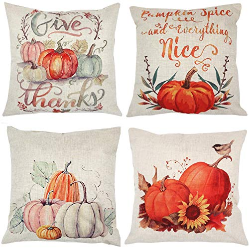Thanksgiving Set Pumpkin - Fall Pumpkin Harvest Decorative Pillowcases 4 Pack, ZUEXT Autumn Thanksgiving Pillow Covers Square 18x18 inch, Halloween Cotton Linen Throw Pillow Covers for Car Sofa Bed Couch, Thanksgiving Gifts