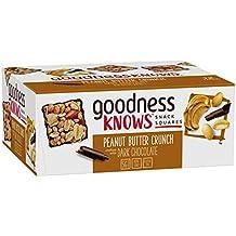 goodnessKNOWS Peanut Butter Crunch & Dark Chocolate Gluten Free Snack Square Bars 12-Count Box