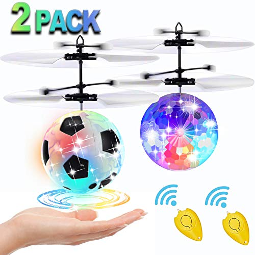 [2 Pack] Flying Ball Toys, Best Gifts for Kids Boys Girls Magic RC Flying Toys Helicopter Infrared Induction Drone with Remote Controller – Replace Screen Time with Healthy Family Fun (in 2 Packages)