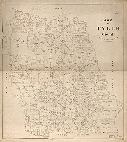 - 1898 map of Tyler County|Size 22x24 - Ready to Frame| Cadastral Landowners|Real Property|Texas|Tyler County|Tyler County|