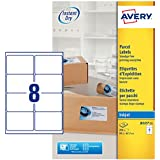 Avery España J8165-25 - Pack de 25 folios de etiquetas para envíos, 99.1 x 67.7 mm, color blanco