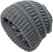 Augecery Women Beanie Hat Slouchy Beanie Winter Hat Warm Knitted Cap Satin Hat for Women
