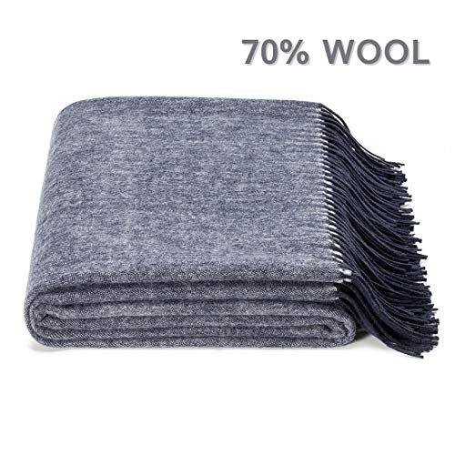 spencer & whitney Bed Throws Wool Blanket Denim Blue 30% Viscose 70% Merino Woolen Blankets Thermal Blankets Natural Fleece Microfiber Throw Blanket Twin Blankets for Couch