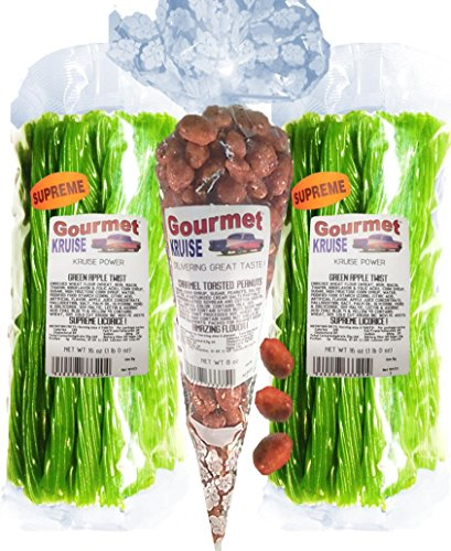Green Apple Licorice Twist 2-1lb Bags (1) Caramel Toasted Peanuts 8OZ (NET WT 40 OZ) Gourmet Kruise Signature Gifts -