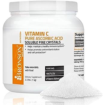 Bronson Vitamin C Crystals (Powder) GMO Free Pure Ascorbic Acid , 2.2 Lbs