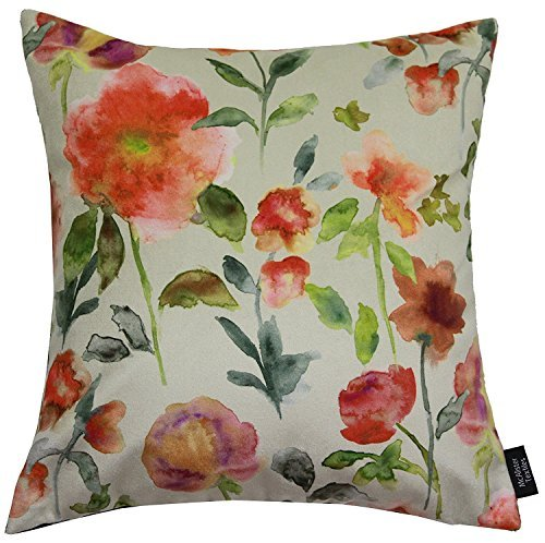 McAlister Orange Renoir Decorative Pillow Cover Case | 16X16 | Soft Velvet Watercolor Floral Rose | Vintage Shabby Chic Flower Accent Decor