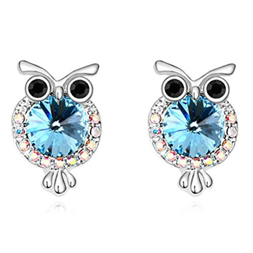 White Gold Silver Animal Blue Owl Stud Earrings for Kids Girls Women Birthday Christmas Gifts Crystal from Swarovski 925 Sterling Silver Needle