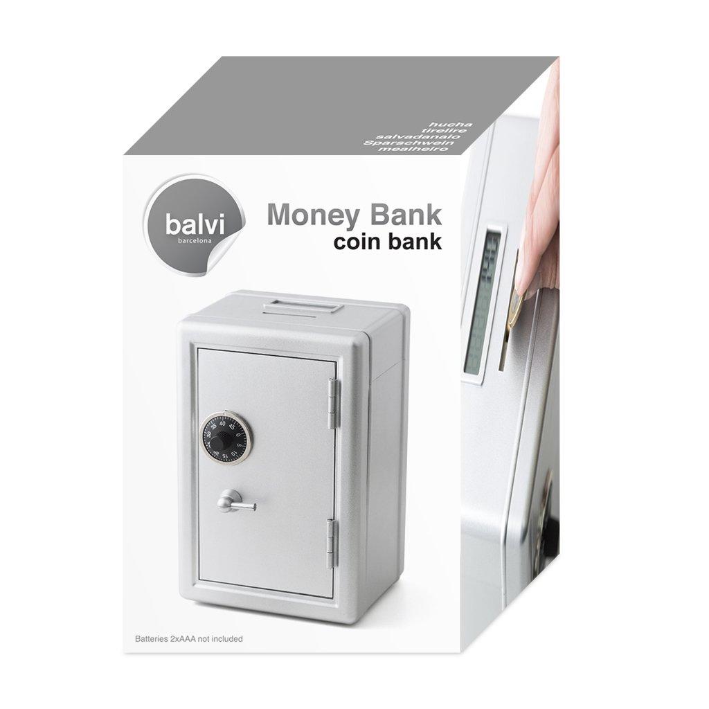 Balvi Hucha Money Bank Gris Caja de Seguridad con Contador Digital de Monedas de Euro Cierre de combinación Guarda Monedas, Billetes, Joyas y Objetos de ...