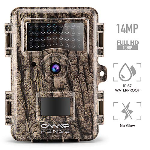 CampFENSE Hunting Trail Camera No Glow, IP67 Waterproof, 14MP 1080P 2.4″ LCD, Trigger Time<0.3s, 940 NM IR Night Vision Rustproof for Hunters(SD Card Not Included)