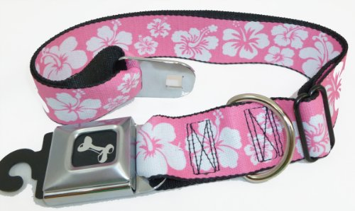 Pink White Hibiscus Seat Belt Buckle Dog Collar 1.5