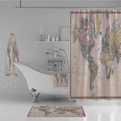 iPrint Bathroom 4 Piece Set Shower Curtain Floor mat Bath Towel 3D Print,Hand Colored Map of The World Anthique Chart,Fashion Personality Customization adds Color to Your Bathroom.