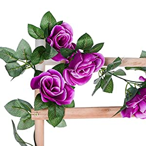 DearHouse Artificial Flower Rose Vine Garland, 8FT/Piece 2 Pack Realistic Artificial Flowers Fake Roses Flowers Plants for Home Kitchen Wedding Party Garden Craft Art Decor (Purple) 5