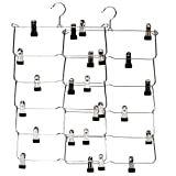 JS HANGER 6-Tier Fold Up Skirt Hanger 2-Pack Heavy Duty Pant Organizer, Chrome