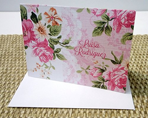 Personalized Floral Stationery Set, Personalized Note cards, Personalized Thank you cards, Set of 12 folded note cards and envelopes.