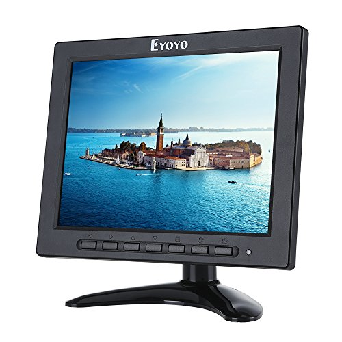 8 inch TFT LED Monitor 1024x768 Resolution Display Portable 4:3 IPS HD Color Video Screen Support HDMI VGA BNC AV USB Input for PC CCTV Raspberry Pi (8'' LED 1024x768 160°) (Led Tft)