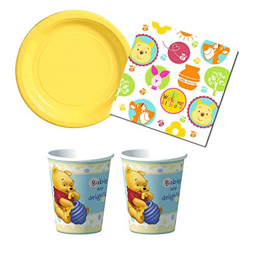 RazzleDazzleCelebrations Winnie The Pooh 'Little Hunny' Baby Shower Party Supplies, 16 Guests, Plates, Napkins, Cups