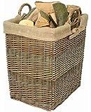 Wicker Rectangular Log Basket with Lining