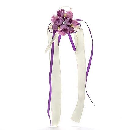 41cbd3cb9c Amazon.com: Flower Rose - Bride Flowers Rose Wrist Artificial ...