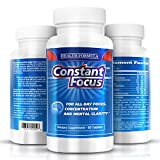 Constant Focus Brain Booster Pills -- Nootropic Natural Herbal Brain Health Supplement with Bacopa Monnieri for All Day Focus - Memory - Concentration - Alertness & Mental Clarity -- 60 Tabs