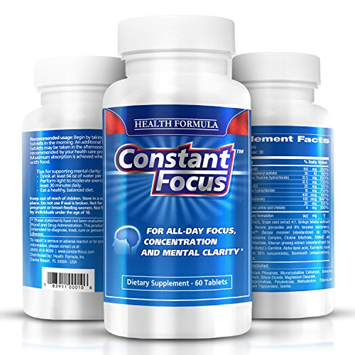 Constant Focus Brain Booster Pills — Nootropic Natural Herbal Brain Health Supplement with Bacopa Monnieri for All Day Focus – Memory – Concentration – Alertness & Mental Clarity — 60 Tabs