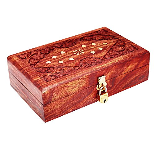 Handmade Wooden Jewelry Box With Free Lock  Key Keepsake Box Treasure Chest Lock Box Watch Box Storage Box Trinket Holder 8 x 5 Inches Birthday House…