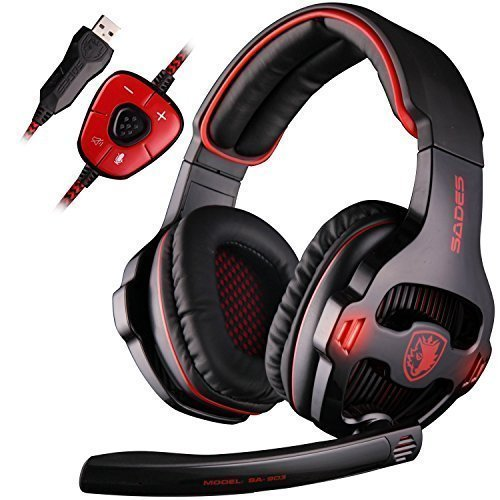 Sades SA903 7.1 Channel Virtual USB Surround Stereo Wired PC Gaming Headset Over Ear Headphones with Mic Revolution Volume Control Noise Canceling LED Light (Black/Red)