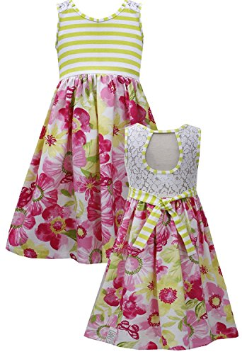 Tween Big Girls 7-16 Lime-Green Pink Cut Out Lace Back Floral Knit Dress (12, Lime)
