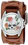"""Nemesis """"Calavera y Rosas, Serie Cuarzo Reloj Automático Acero inoxidable y piel, color: café (Modelo: bsfx933W)"""