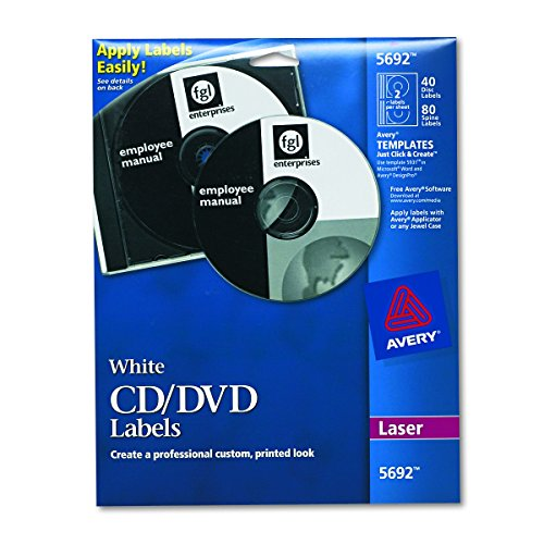 Avery White CD Labels for Laser Printers, 40 Disc Labels and 80 Spine Labels (Clear Laser Cd Label)