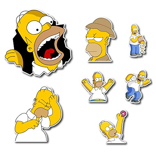 (The Simpsons Homer Simpson Set Sticker Pack Cartoon Decal for Car Window, Bumper, Laptop, Skateboard, Wall, ETC.)