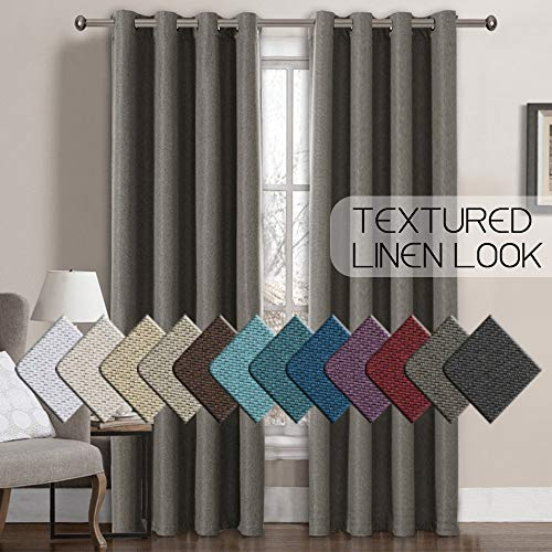 H.VERSAILTEX Window Treatment Grommet Faux Linen Blackout Curtains 96 Inches Long for Living Room Thermal Insulated Room Darkening Textured Linen Curtains for Bedroom 96 Inches, Taupe Gray, 1 Panel (Blackout Curtains Grommet Grey)