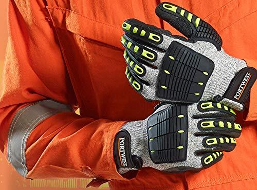 (Portwest A722G8RXXXL Anti Impact Cut Resistant Glove, Fabric, 3X-Large, Grey/Black)