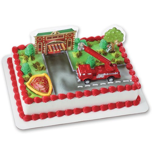 Fire Truck and Station DecoSet Cake - Kids For Fire Badge