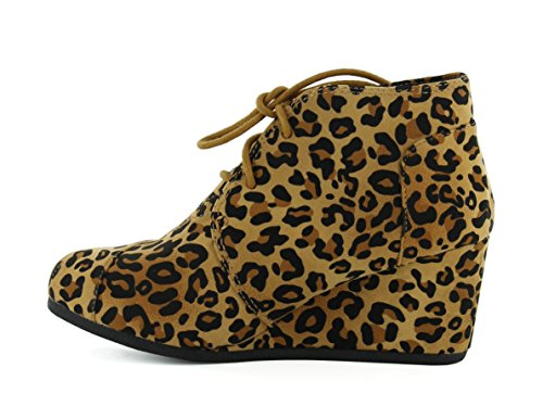 Patricia 01 Forever Ankle Faux Womens Leopard Up Link Lace Suede Booties Wedge wqfnHfgpEx