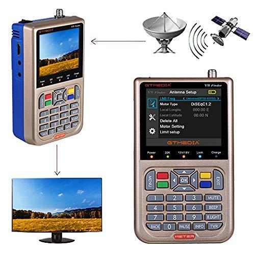 "GT MEDIA V8 Satellite Finder Meter TV DVB-S/S2/S2X Signal Receiver H.265 Hardware Sat Detector, HD 1080P Free to Air FTA 3.5"" LCD Built-in 3000mAh Battery for Adjusting Sat Dish"