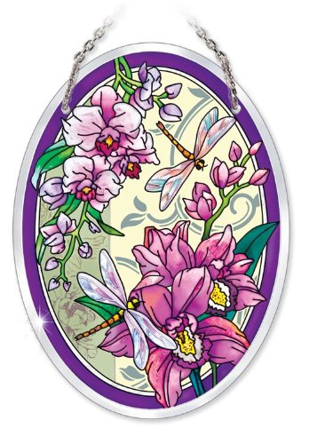 (Amia 41015 Hand Painted Beveled Glass 5-1/2 by 7-Inch Oval Sun Catcher, Orchid Collage with Dragonfly,)