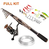 PLUSINNO Spin Spinning Rod and Reel Combos Carbon Telescopic Fishing Rod with Reel Combo Sea Saltwater Freshwater Kit Fishing Rod Kit(1.8M 5.91FT Fishing Full Kit)